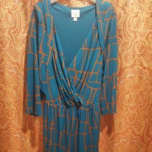 Suzi Chin Plus Size Giraffe Print Faux Wrap Dress